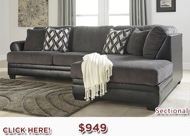 PImage Kumasi Smoke Sectional w/Right Facing Corner Chaise